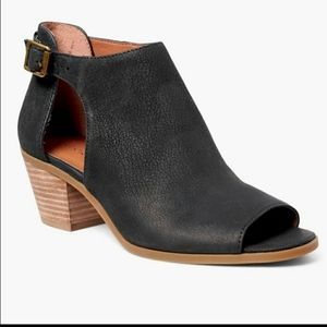 Lucky Brand Black Leather Barimo Open Booties